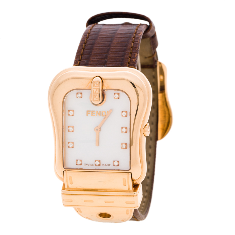 Fendi Mother Of Pearl Rose Gold Tone B. Fendi Women's Wristwatch 32MM
