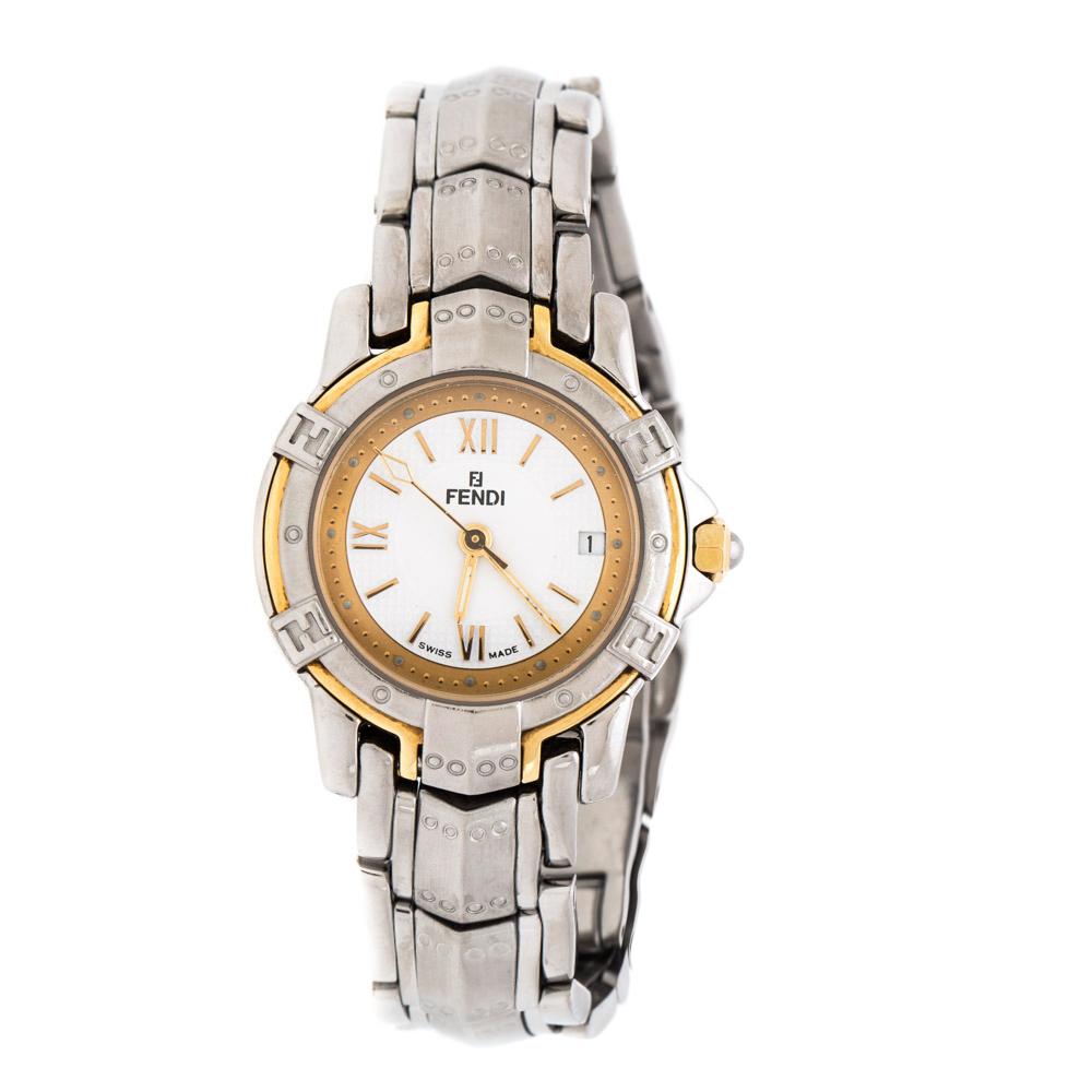 Fendi White Two-Tone Stainless Steel Vintage Orologi 3500L Women's Wristwatch 26 mm