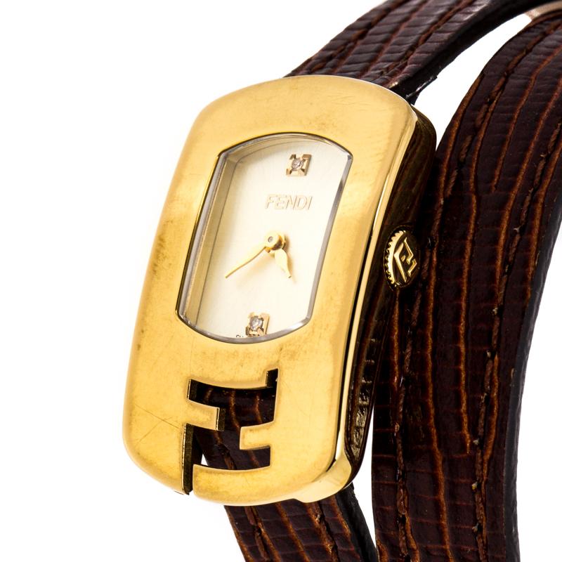 Купить со скидкой Fendi Yellow Gold Plated Stainless Steel Double Wrap 30000L Women's Wristwatch 18 mm