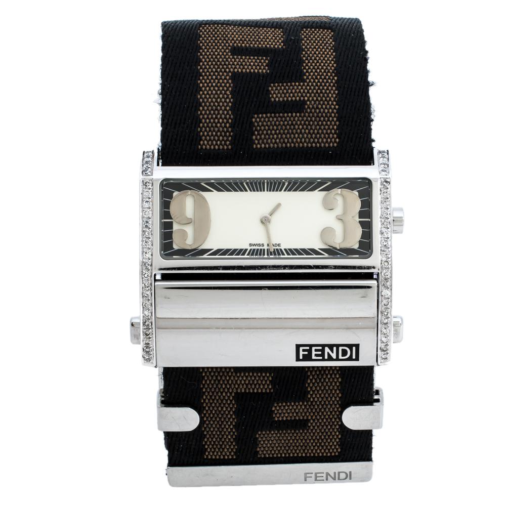 Fendi Cream Stainless Steel Canvas Diamond Zip Code 1120G Women's Wristwatch 46MM