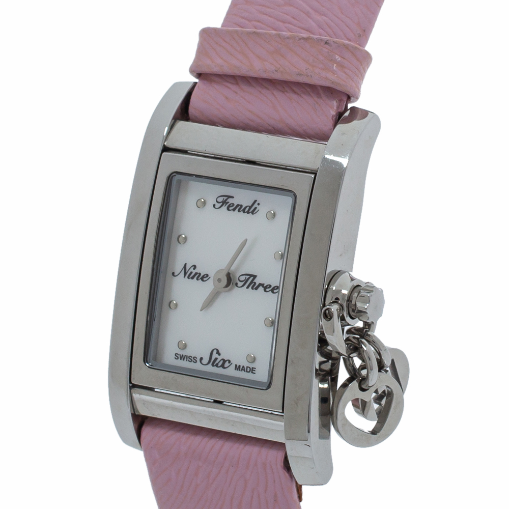 Fendi Mother of Pearl Leather Stainless Steel 7100L Women's Wristwatch 21 MM, Silver  - buy with discount