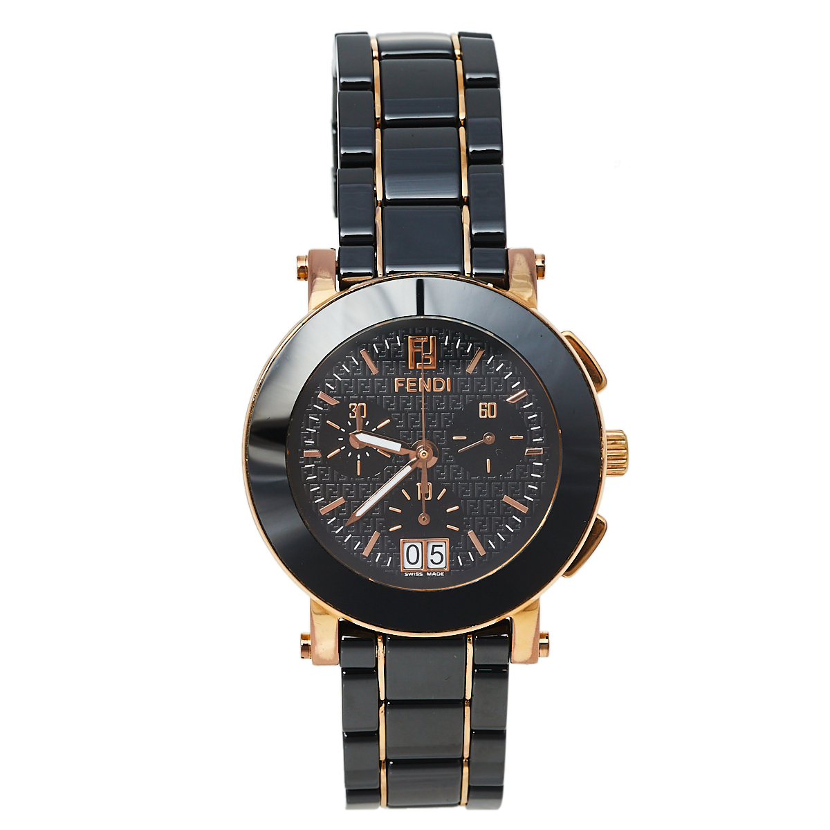 Pre-owned Fendi Black Ceramic & Gold Tone Stainless Steel Chrono 6700g Women's Wristwatch 38 Mm