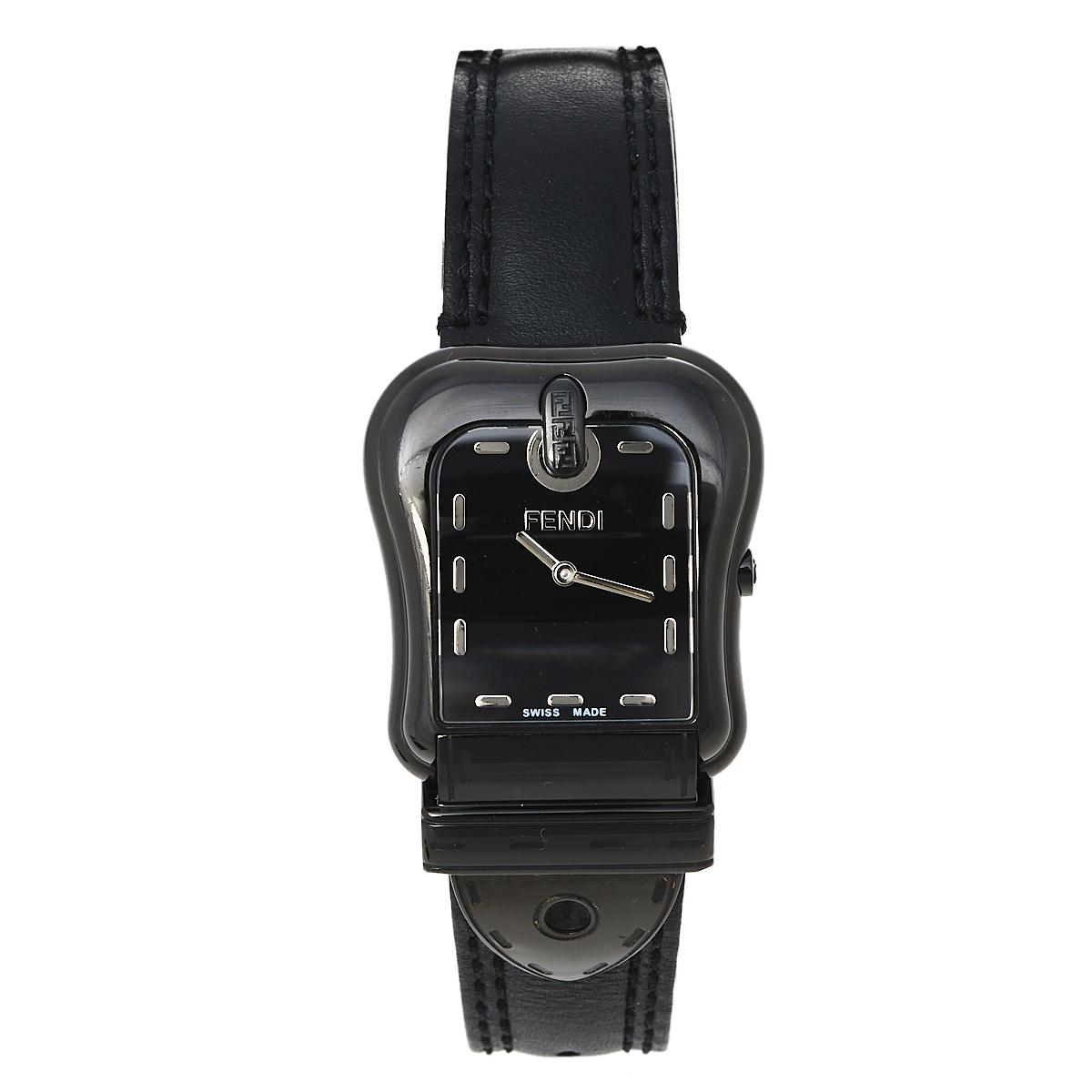 Pre-owned Fendi 3800g Women's Wristwatch 33 Mm In Black