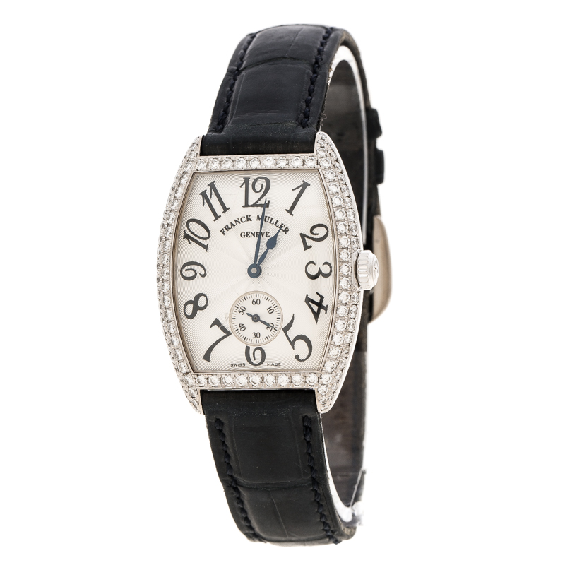 Franck Muller Silver 18K White Gold And Diamonds Cintree Curvex 1750S6D Women's Wristwatch 29 mm
