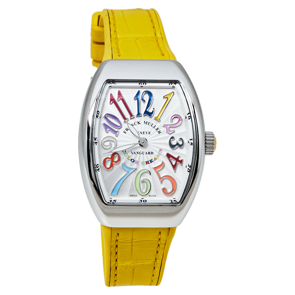 Pre-owned Franck Muller Silver Stainless Steel Vanguard Color Dreams V 32 Qz Women's Wristwatch 32 Mm