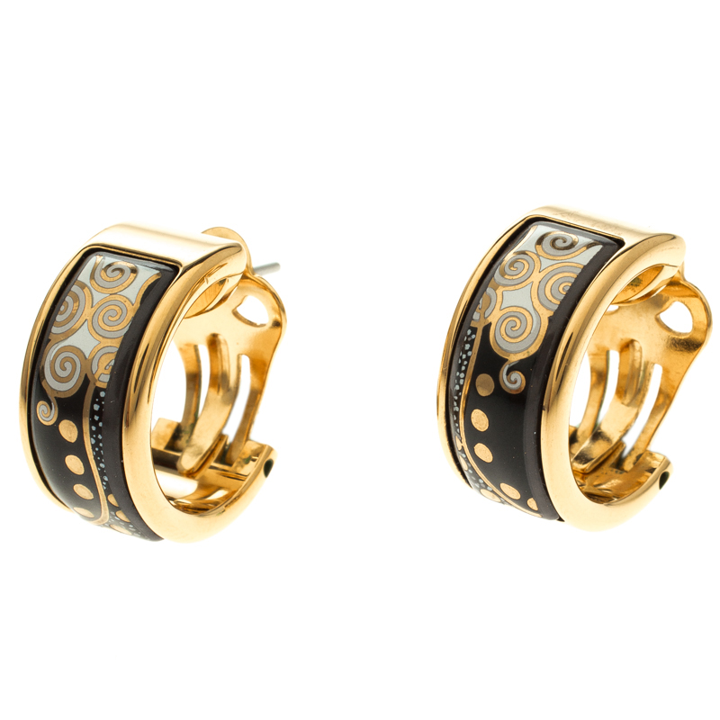 Frey Wille Hommage À Gustav Klimt Nixe Fire Enamel Gold Plated Hoop Earrings