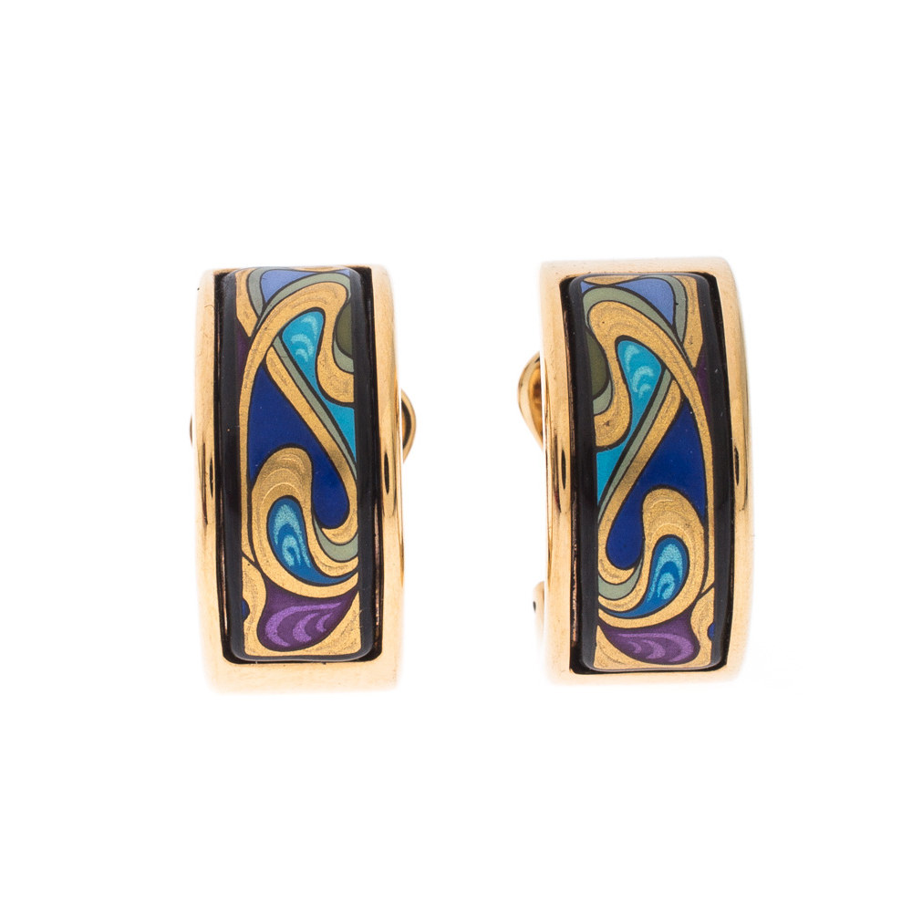 Frey Wille Hommage à Alphonse Mucha Fire Enamel Gold Plated Mini Creole Earrings