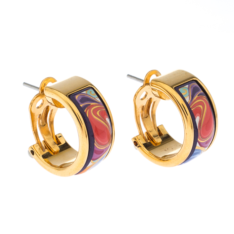 Frey Wille Fl Symphony Fire Enamel Gold Plated Hoop Earrings