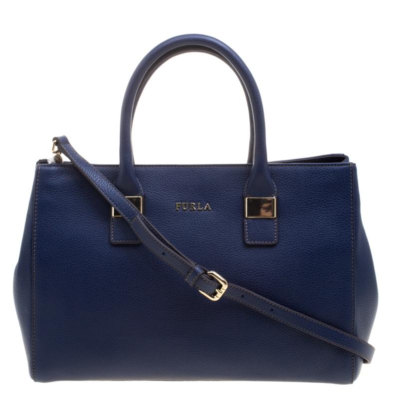 Furla Navy Blue Leather Medium Amelia Tote