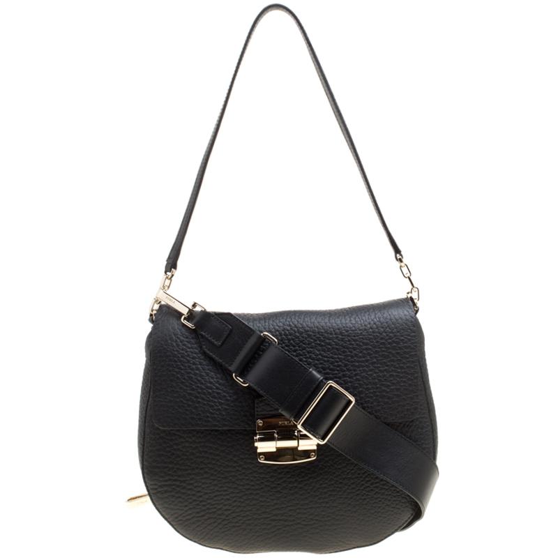 a90a3a79b843 Furla Black Leather Small Club Crossbody Bag