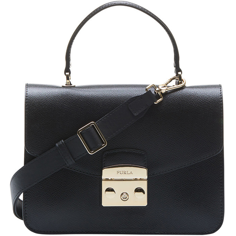 Furla Onyx Textured Leather Medium Metropolis Top Handle Bag, Black