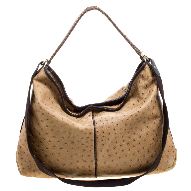 66612dbf3d Buy Furla Brown Ostrich Embossed Leather Elizabeth Hobo 118505 at ...