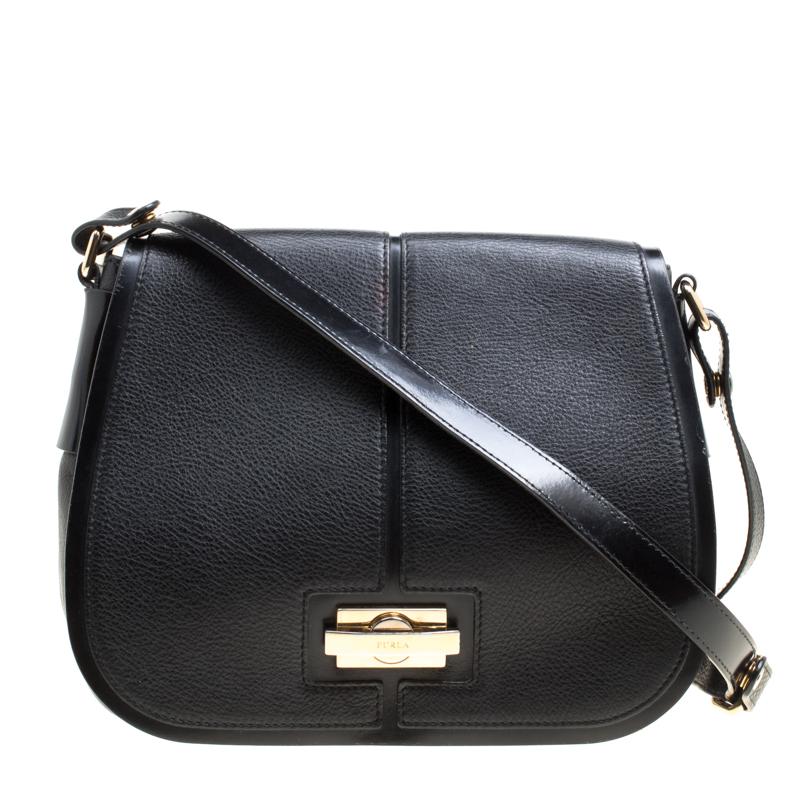 Furla Black Leather Saddle Shoulder Bag Nextprev Prevnext