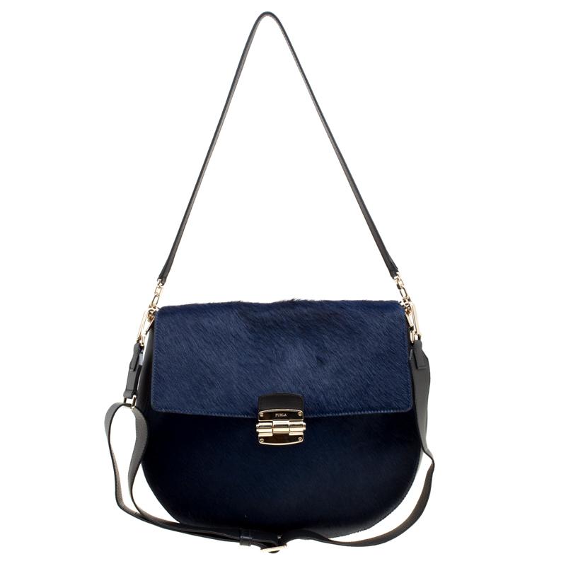 713ed423a47e ... Furla Blue Black Hair On and Leather Medium Club Shoulder Bag.  nextprev. prevnext