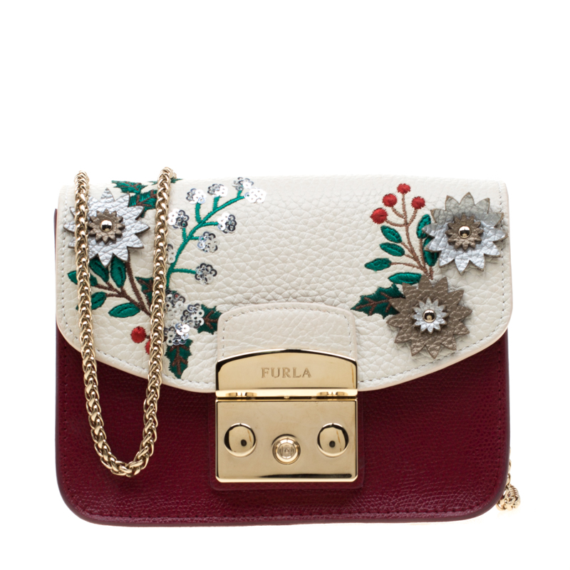 Furla Red White Flower Embroidered Leather Mini Metropolis Crossbody Bag