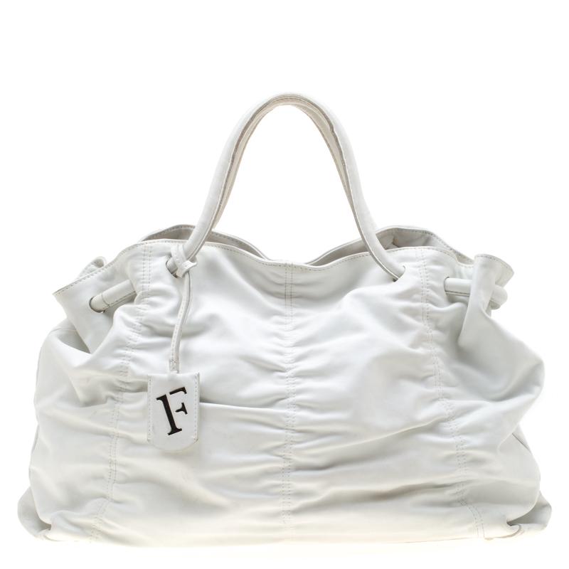 Furla White Leather Carmen Gather Tote