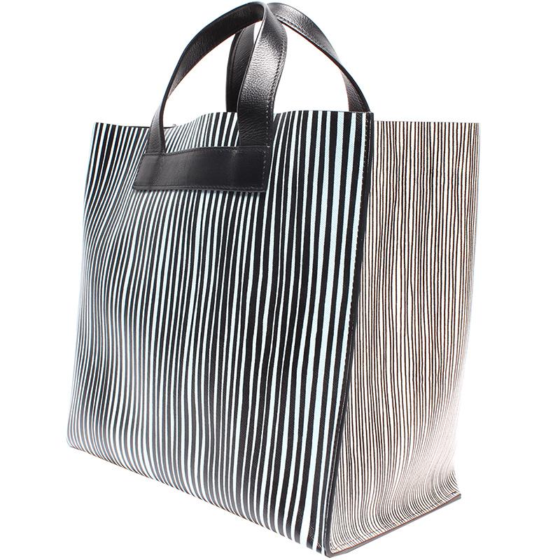 Furla Blanc/Noir Cuir Shopping Tote