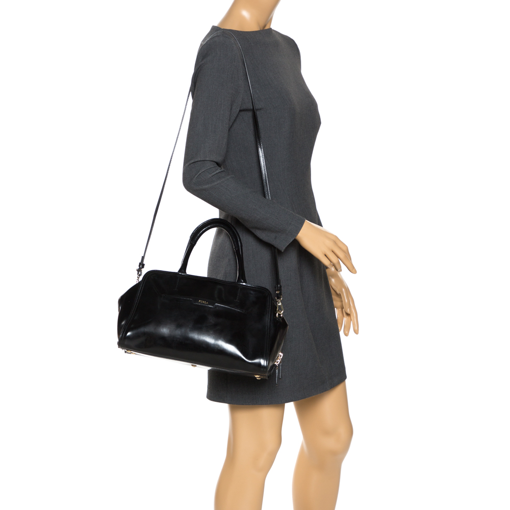Furla Black Patent Leather Satchel