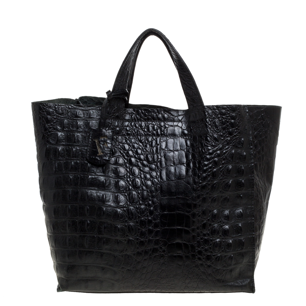 Pre-owned Furla Black Croc Embossed Leather Tote