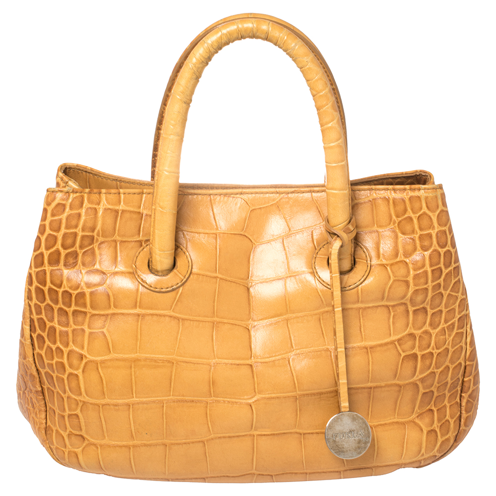 Pre-owned Furla Mustard Yellow Croc Embossed Leather Practica Tote