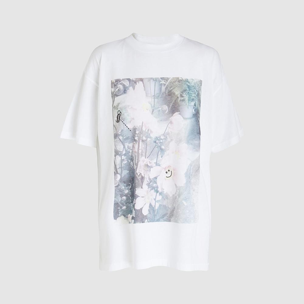 Ganni White Davis Flower Print Graphic T-shirt M/L