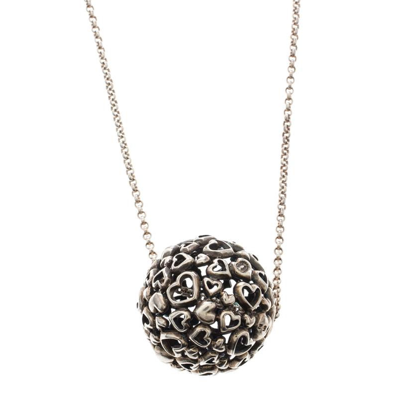 Georg Jensen Multi Heart Ball Silver Pendant Chain Necklace
