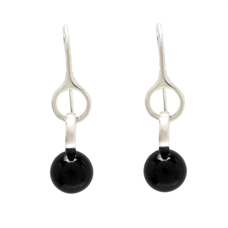 Georg Jensen Sterling Silver Onyx Sphere Drop Earrings