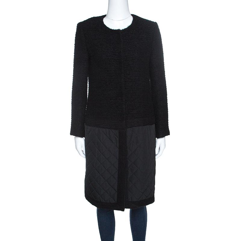 367ab00b Buy Giambattista Valli Black Textured Quilted Bottom Hem Coat M ...