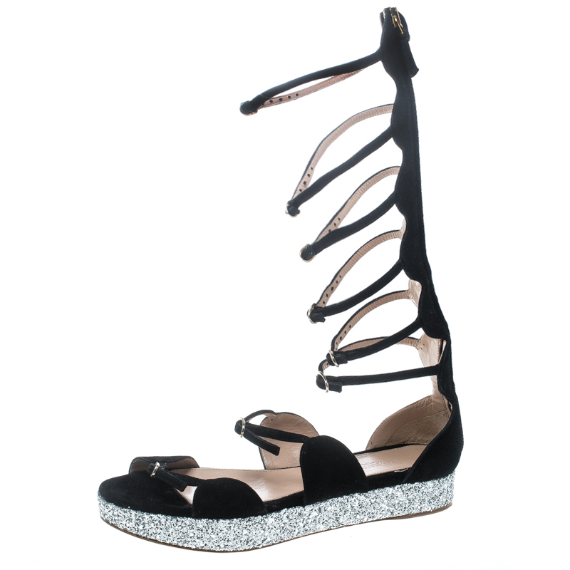 37c11d95b ... Giambattista Valli Black Suede Glitter Platform Flat Gladiator Sandals  Size 38.5. nextprev. prevnext