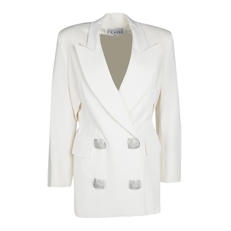 Купить со скидкой Gianfranco Ferre Cream Cutout Back Detail Blazer and Maxi Skirt Suit S
