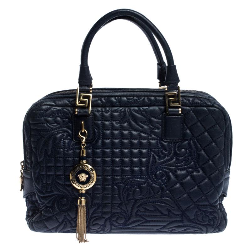 Blue Leather Demetra Vanitas Top Handle
