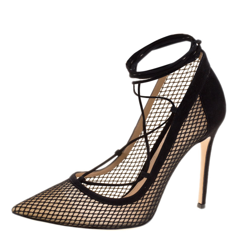 b856055c3 ... Gianvito Rossi Black Suede And Mesh Lace Up Pointed Toe Pumps Size 40.  nextprev. prevnext