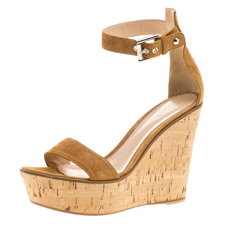 Gianvito Rossi Brown Suede Wedge Sandals Size 40
