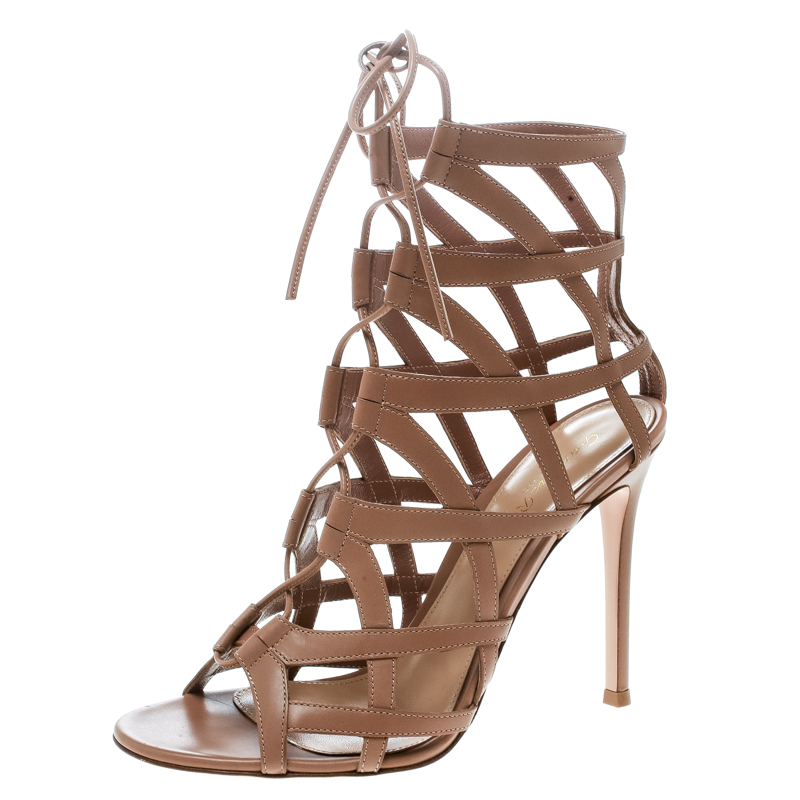 831526e6804c6d Gianvito Rossi Beige Leather Adina Lace Up Caged Sandals Size 38.
