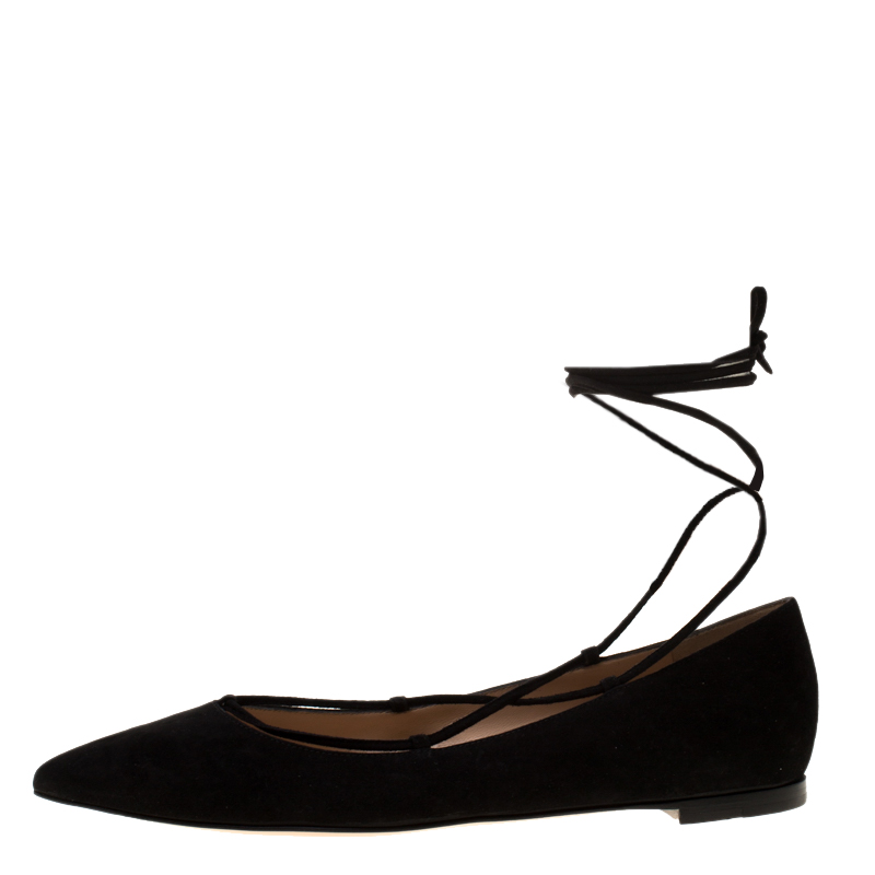 Фото #1: Gianvito Rossi Black Suede Femi Ankle Wrap Pointed Toe Flats Size 36.5
