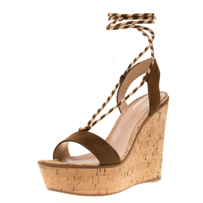 35e496d24f9 Gianvito Rossi Brown Suede Ankle Wrap Cork Wedge Sandals Size 39.5