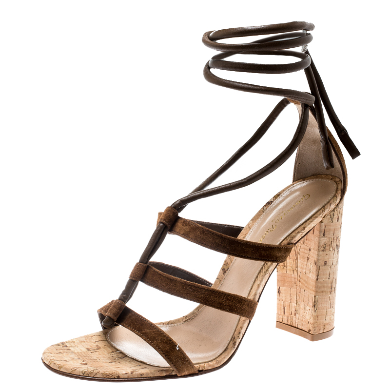 dd47b8f388 ... Gianvito Rossi Brown Suede And Leather Cayman Ankle Wrap Strappy  Sandals Size 38. nextprev. prevnext