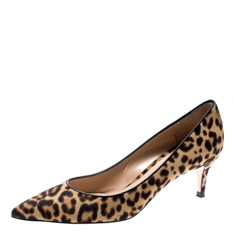 02c1a0879620 Buy Gianvito Rossi Beige Leopard Print Pony Hair Pointed Toe Pumps ...