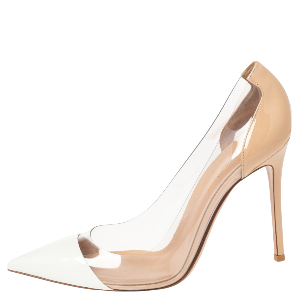 Gianvito Rossi Beige/White Patent Leather And PVC Plexi Pointed Toe Pumps Size 40.5