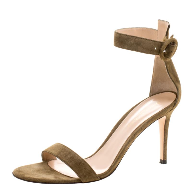 c8d36f6f17 ... Gianvito Rossi Olive Green Suede Portofino Ankle Strap Sandals Size 39.  nextprev. prevnext