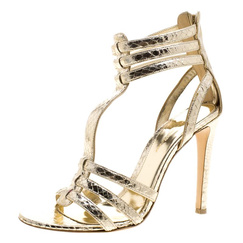8af543f5e ... Metallic Gold Python Embossed Leather T Strap Sandals Size 37.  nextprev. prevnext