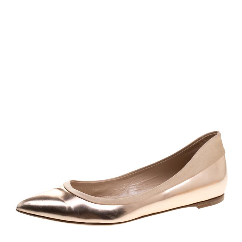 93ff9112205f ... Rose Gold Metallic Leather Pointed Toe Ballet Flats Size 37. nextprev.  prevnext