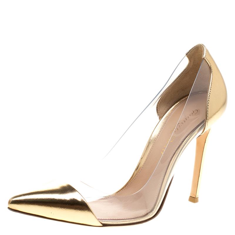 26e4b4ef8a1 ... Gianvito Rossi Metallic Gold Leather and PVC Plexi Pointed Toe Pumps  Size 35.5. nextprev. prevnext