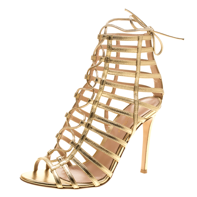 cea53ccbd ... Gianvito Rossi Metallic Gold Leather Roxy Lace Up Caged Sandals Size  38. nextprev. prevnext