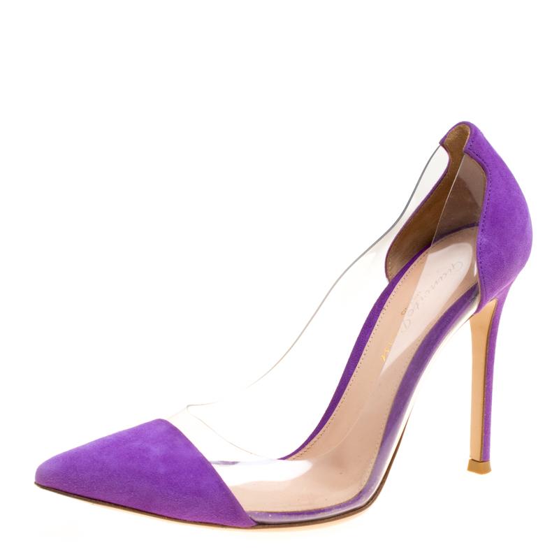 18a6d12b2d8 ... Gianvito Rossi Purple Suede and PVC Plexi Pointed Toe Pumps Size 36.5.  nextprev. prevnext
