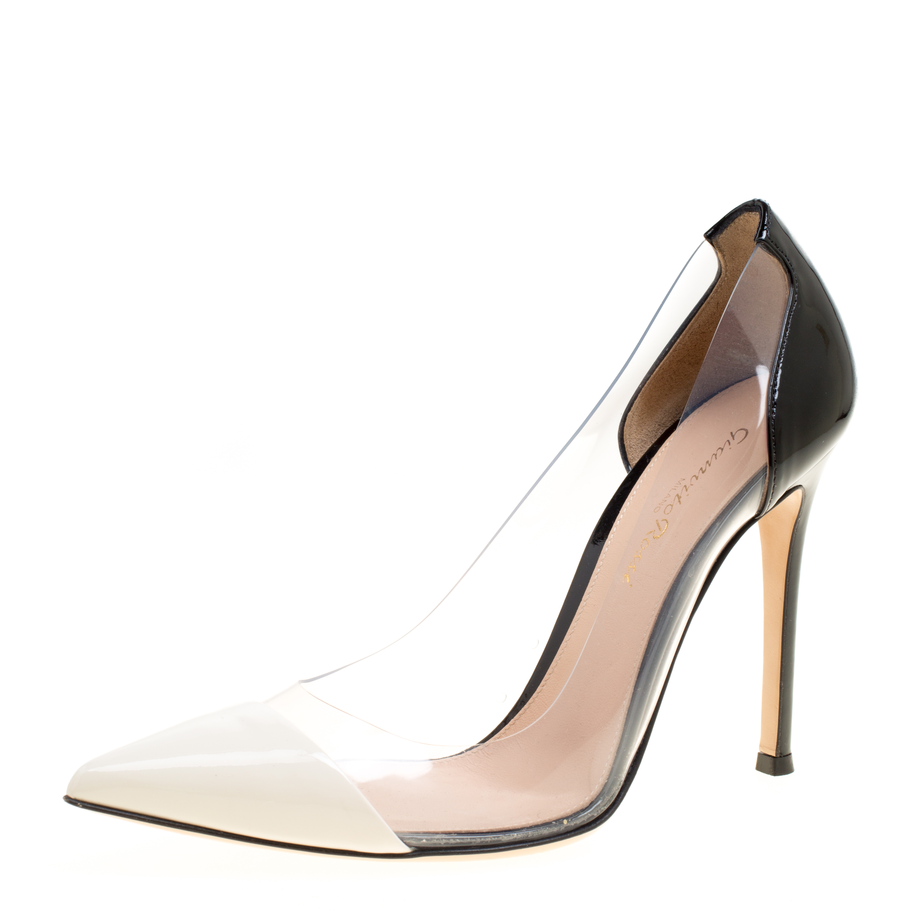 d07d7d4d66 Buy Gianvito Rossi White/Black Patent Leather and PVC Plexi Pointed ...