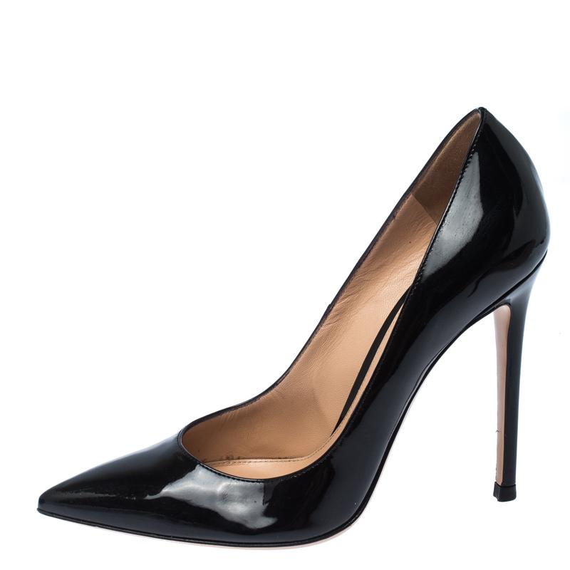 Gianvito Rossi Black Patent Leather Gianvito Pointed Toe Pumps Size