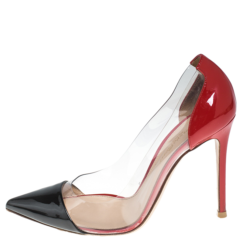 Gianvito Rossi Black/Red Patent Leather And PVC Plexi Pointed Toe Pumps Size