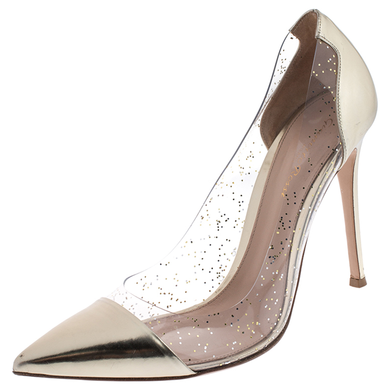 Gianvito Rossi Gold Patent Leather and