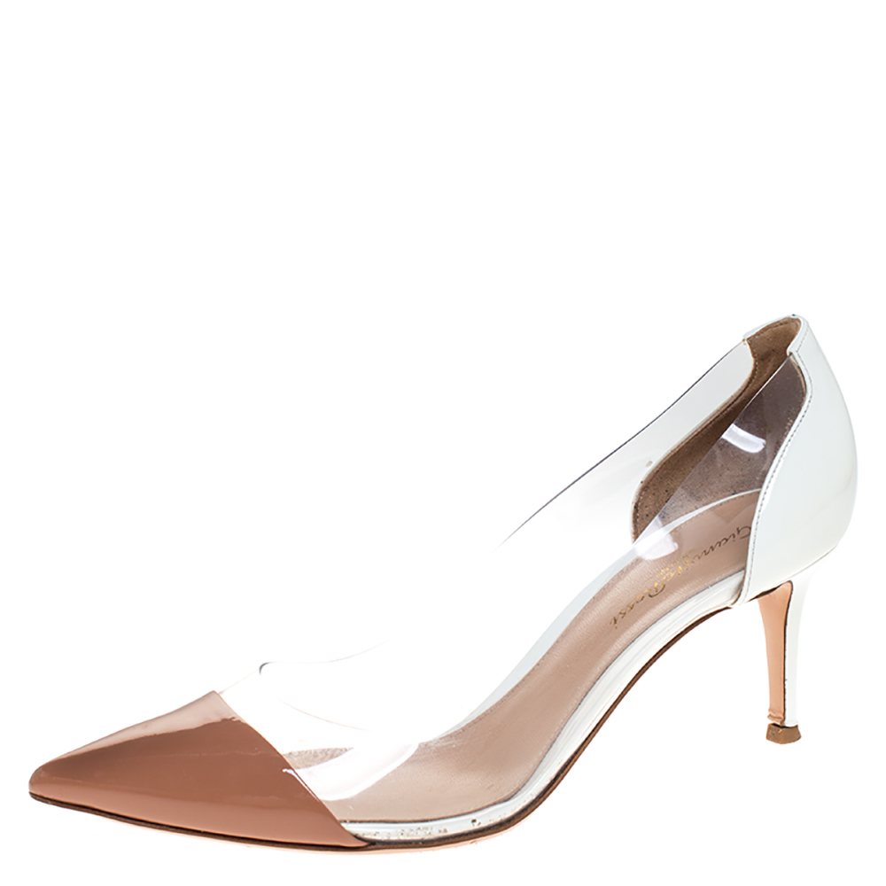 Gianvito Rossi White/Beige Patent Leather And  PVC Plexi Pointed Toe Pumps Size 39.5
